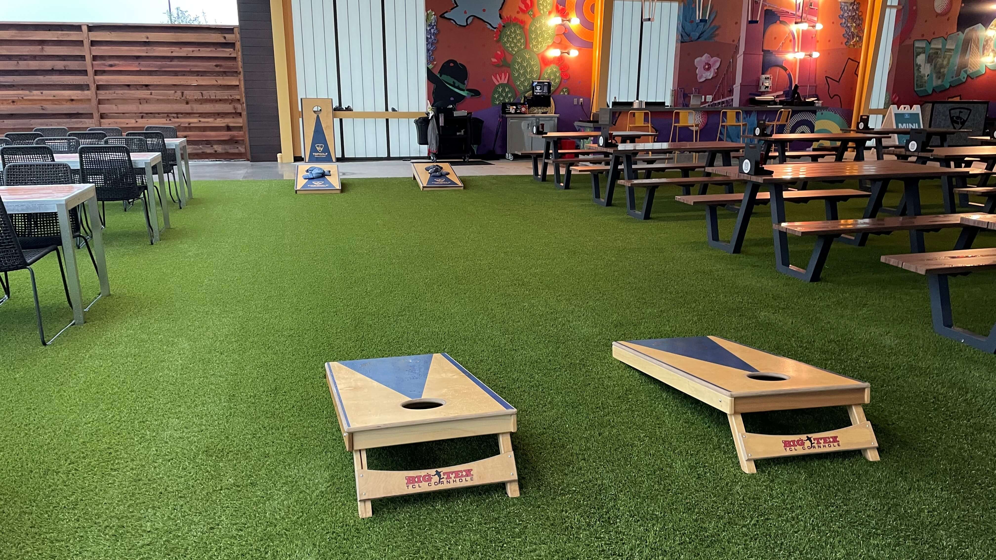 artificial turf installation with cornhole